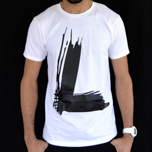 Men's Paintbrush L Black on White Tee