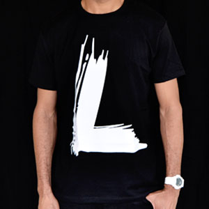 Men's Paintbrush White on Black Tee